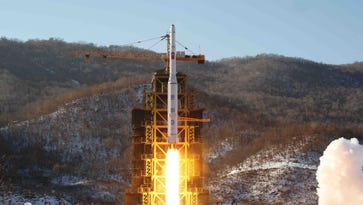 North Korea's Unha-3 rocket lifts off from the Sohae launch pad in Tongchang-ri, North Korea on Dec. 12, 2012.