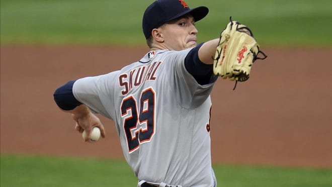 Detroit Tigers pitcher Tarik Skubal throws to a Minnesota Twins batter during the first inning of a baseball game Saturday, Sept. 5, 2020, in Minneapolis.