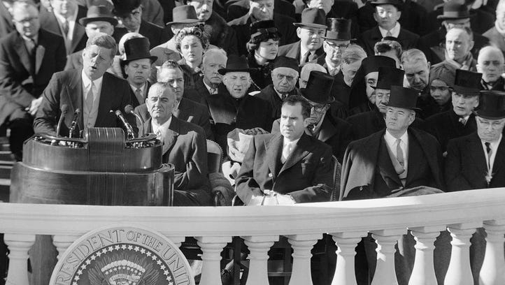 President John F. Kennedy gives his inaugural address