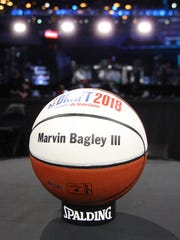 A basketball reserving a table for Marvin Bagley III