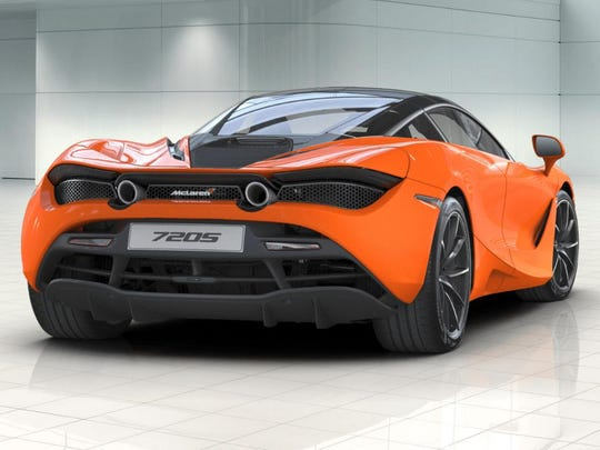 The rear of the McLaren 720S is home to a 4-liter V-8 engine that is capable of a top speed of 212 miles per hour, a zero-to-60-mph time of 2.8 seconds and a zero-to-100-mph time of 5.5 seconds.