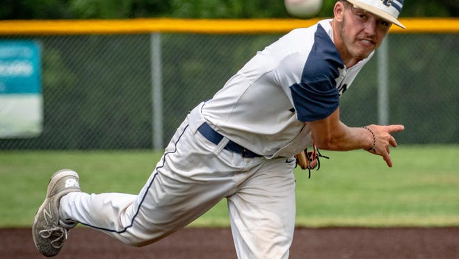 William Chrisman senior Billy Ross throws a pitch to a Truman batter in the final game on his home field, which was named after his family after a contribution for the turf from his parents. Ross lost despite allowing just three hits and one earned run but doesn't regret the final chance on his home field.
