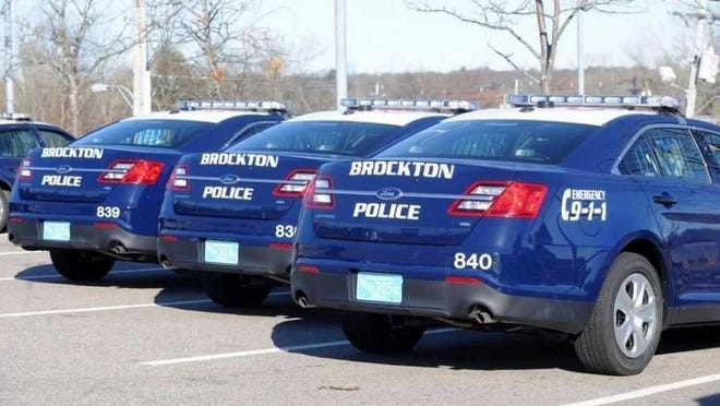 Brockton police cruisers are parked outside the police station in this 2012 Enterprise file photo.