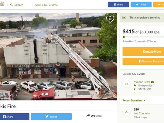 The Go Fund Me page for Shotski's set up to raise money for their rebuilding process.
