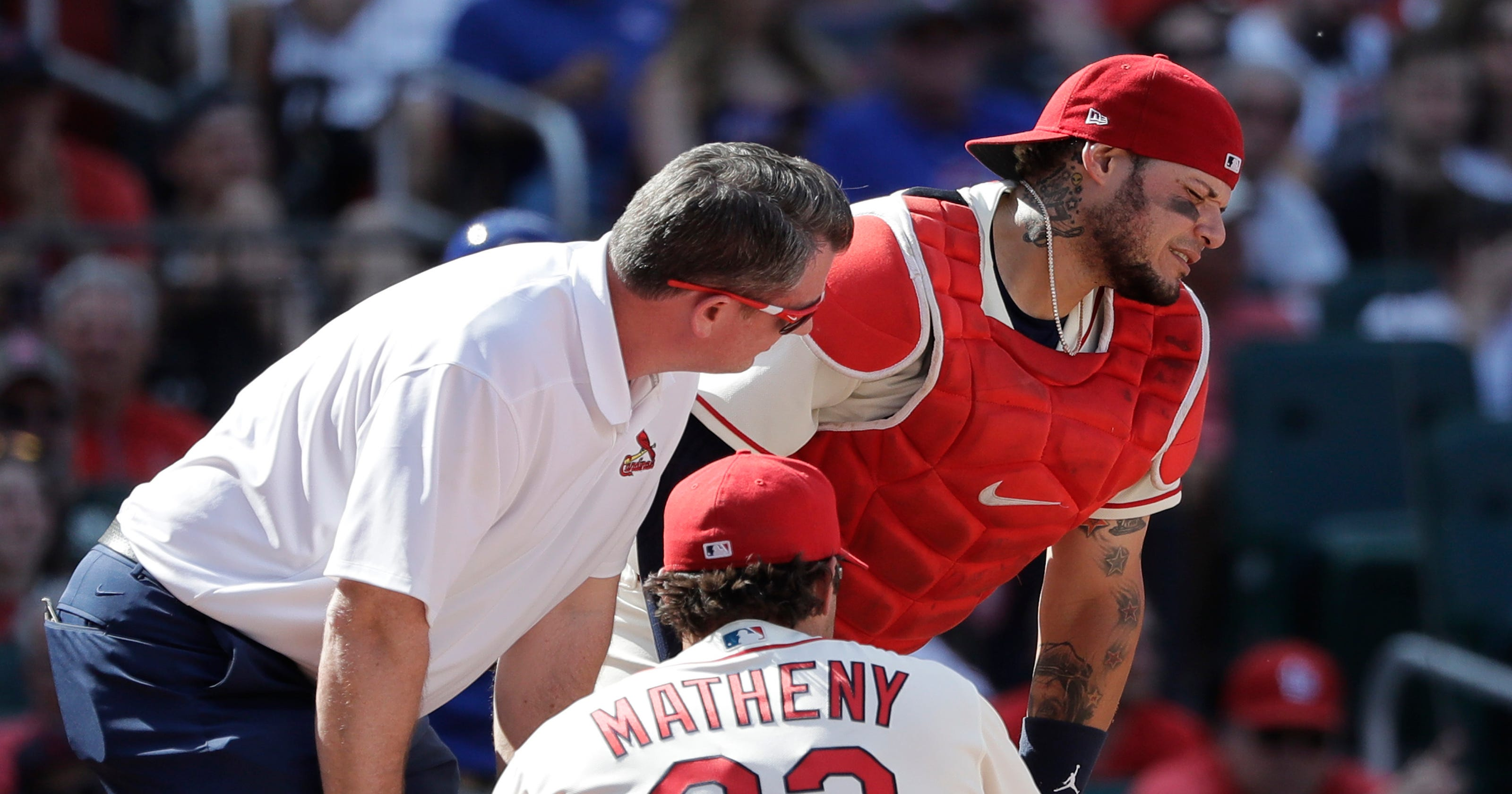 62b286bced3 Cardinals  Yadier Molina undergoes surgery after being hit in groin by foul  tip