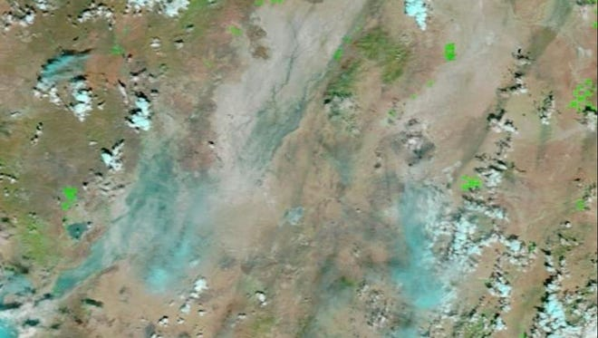 This is a NASA satellite image showing water over the Black Rock Desert on Tuesday.