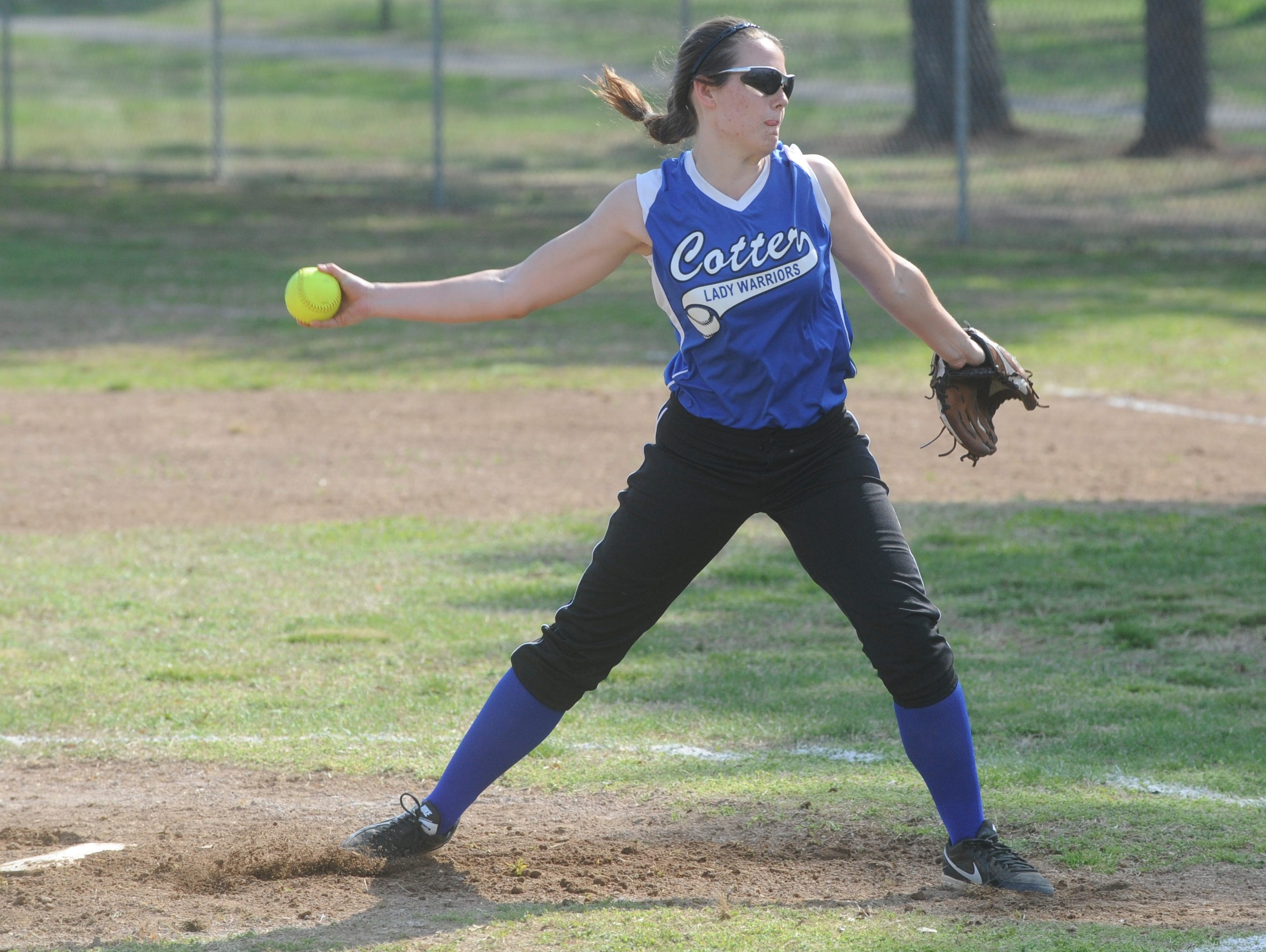 Cotter's Macie Clawson delivers a pitch during her team's 15-1 loss to Flippin on Tuesday at the TLC Bank Sports Complex.