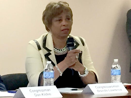 U.S. Congresswoman Brenda Lawrence, D-Southfield, spoke out in favor of gun control legislation and decried gun violence in a panel with four other Democratic U.S. Representatives at the Berkley Public Safety Building on June 29, 2016.