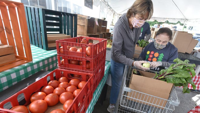 Volunteer Patty Koehler works with Robert LaPorte as they make their way down the lineup of fresh produce at Cape Abilities Farm in Dennis. Volunteers and members of the farm's day program joined forces Tuesday to pack up 200 boxes of fresh produce for delivery to homebound seniors.