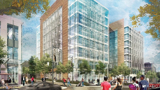 Ambrose Property Group wants to redevelop the former General Motors stamping plant site into a $550 million project that includes apartments, retail, offices and a hotel.