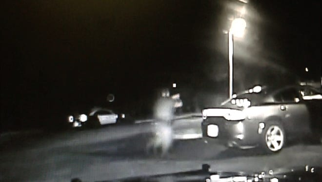 Screengrab from dashboard camera footage released by Melbourne Police Department of a shooting on Sunday (June 7) of person-of-interest Matthew Wayne McDaniel, 36.