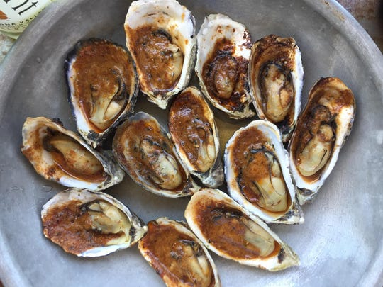 Slurpingly savory barbecued oysters at Hog Island Oyster Co. pair beautifully with, say, crisp Tangent sauvignon blanc from Niven Family Wine Estates.