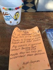 Note to customers announcing the closing of Ralph's