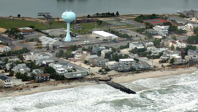 An aerial view of the beach area on Long Beach Island.