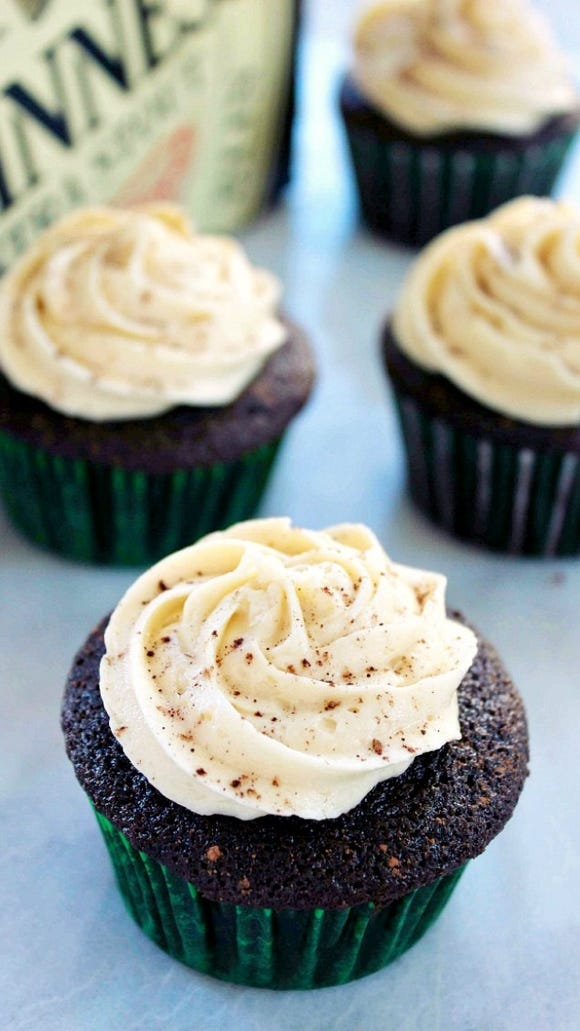 Dessert: Guinness Chocolate Cupcakes with Bailey's Frosting