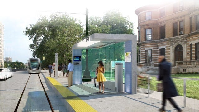 This rendering shows one of 20 stations serving 12 locations along the upcoming M-1 streetcar route. The streetcar will serve curb-side stations for nearly the entire route, transitioning to center-running at the north and south ends of the system to promote walk-ability, economic growth and established attractions along the route.