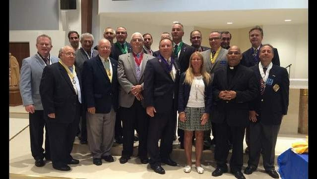 Officers Installation Ceremony of the Bishop John C. Reiss Council# 15964 with special guests KofC State Deputy Andy Lipenta bottom third from left and Margaret Ferraina, niece of Bishop Reiss.