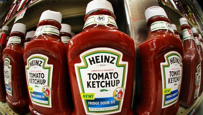 Bottles of Heinz ketchup line the shelves of a West Mifflin, Pa., market.