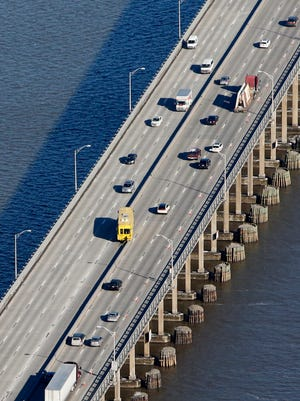 The barrier machine makes its way across the Tappan Zee Bridge toward Tarrytown, adding a lane Rockland bound.