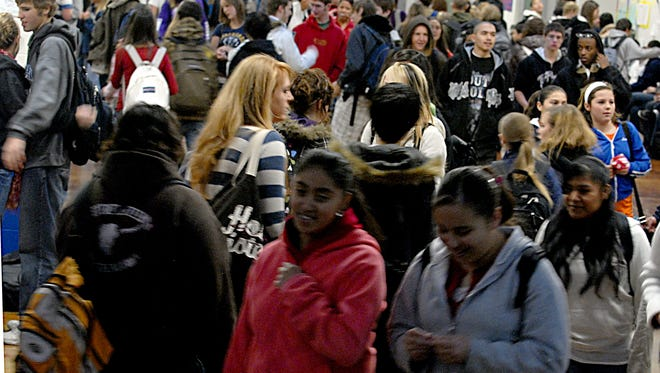File photo: Students crowd through the halls at Damonte Ranch High School in Reno in 2007.
