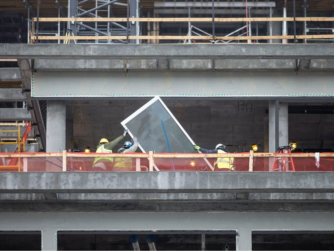 Construction crews continue to work on the structure