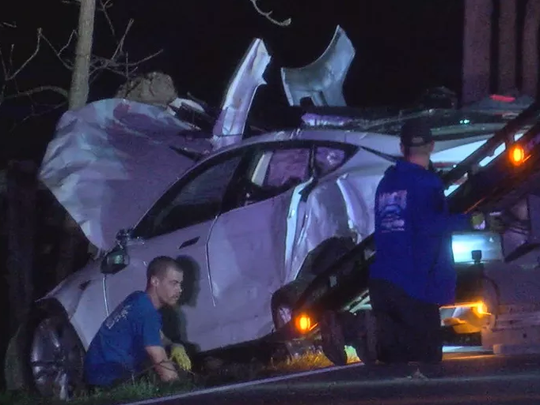 Four Monroe High School students were injured in a car accident on their way to prom, school officials said.
