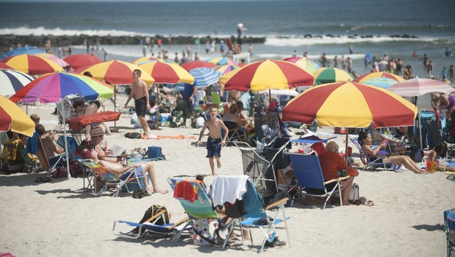 A view of the crowded Ocean City beach.