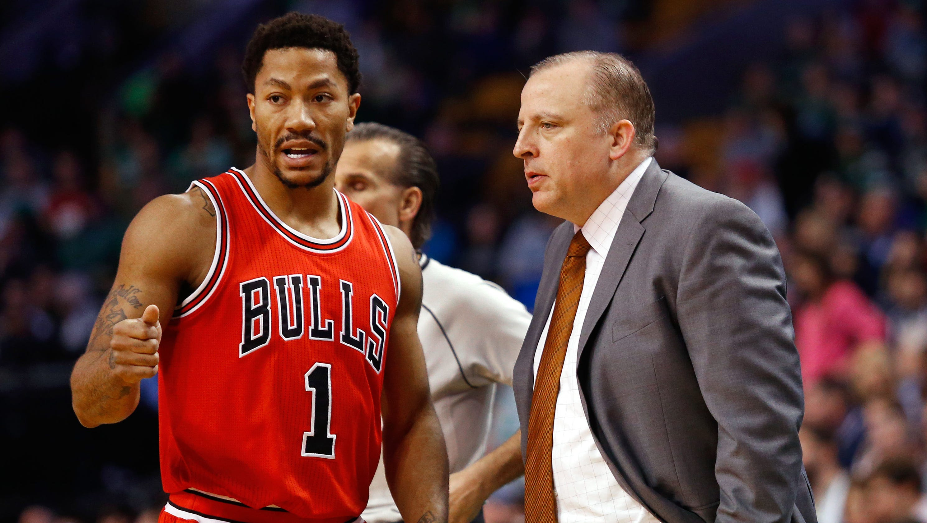 Image result for derrick rose and tom thibodeau media day