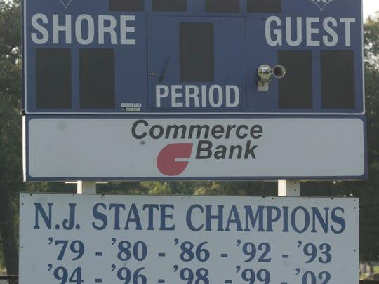 Shore Regional high school field hockey scoreboard field