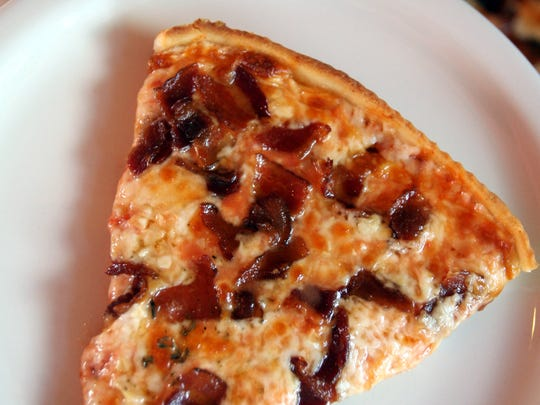 Top: Garlic and bacon pizza at Nanuet Restaurant.