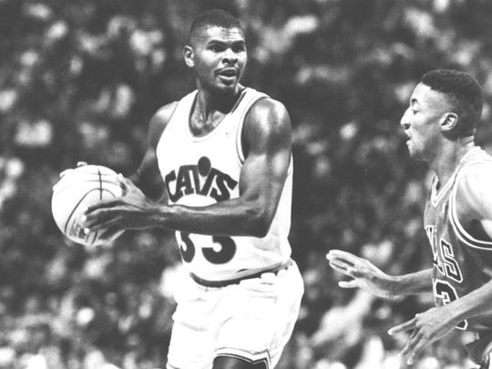 Mike Sanders, here as a Cleveland Cavalier playing against Chicago's Scottie Pippen, surpassed expectations on every stop of his career.