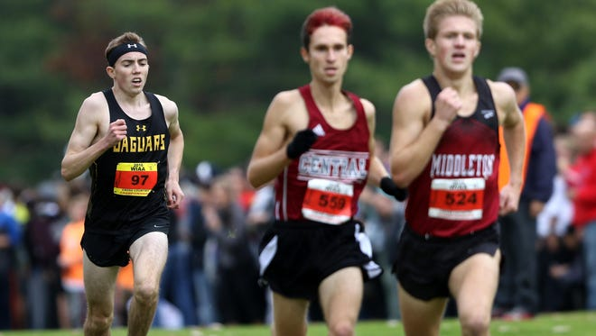 Ashwaubenon's Tannor Wagner (97) chases the leaders in the WIAA Division 1 boys cross country state meet on Saturday in Wisconsin Rapids.