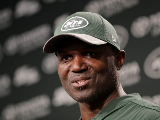New York Jets head coach Todd Bowles talks to reporters