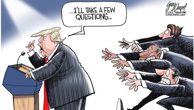 President Trump's impromptu press conference about Charlottesville commentary from cartoonist Gary Varvel.