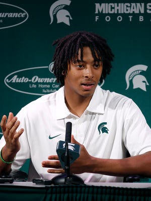 Michigan State safety Jalen Watts-Jackson talks to the media Wednesday, Oct. 21, 2015, in East Lansing.