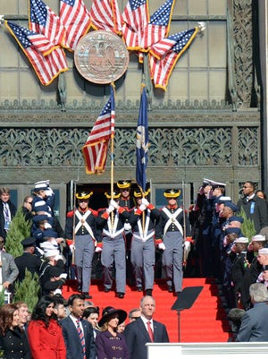 Louisiana National Guard 141st Field Artillery Regiment color guard presents the colors during Gov. John Bel Edwards inauguration ceremony on Jan 11, 2016, on the steps of the La. State Capitol, Baton Rouge, La.