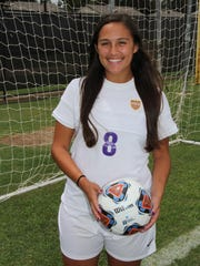HSU forward Taylor Bernal.