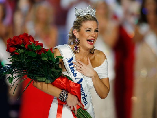 Miss New York Mallory Hagan reacts as she is crowned