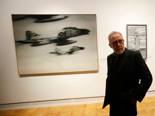 German painter Gerhard Richter stands in front of his work 'Phantom Interceptors' during a press preview for his exhibition downtown Prague, Czech Republic, Tuesday, April 25, 2017. The exhibition starts on April 26, 2017 and last until Sept. 3, 2017.
