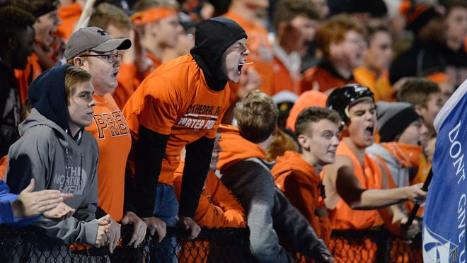 Cathedral Prep football fans cheer near the end of a 29-26 win over McDowell at Gus Anderson Field in Millcreek Township on Oct. 4, 2019. Prep and Villa Maria fans will be allowed at sporting events, when possible.