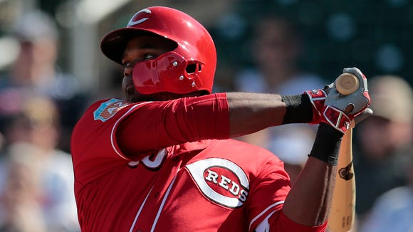 Cincinnati Reds outfielder Phillip Ervin singles in the seventh inning during the Cactus League game between the Cleveland Indians and Cincinnati Reds, Thursday, March 3, 2016, at Goodyear Ballpark, in Goodyear, Arizona. The Reds defeated the Indians 9-1.