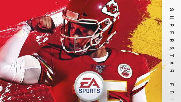 This image provided by EA Sports shows the cover of the Madden 20 video game, featuring Kansas City Chiefs quarterback Patrick Mahomes, which will be released in August. (Photo courtesy of EA Sports via AP) ORG XMIT: NY161