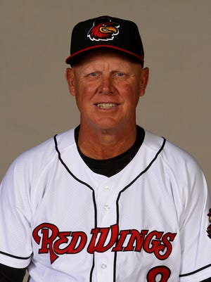 Mike Quade, Red Wings manager. Survived serious car wreck in Fort Myers, Florida on Saturday, Feb. 25.