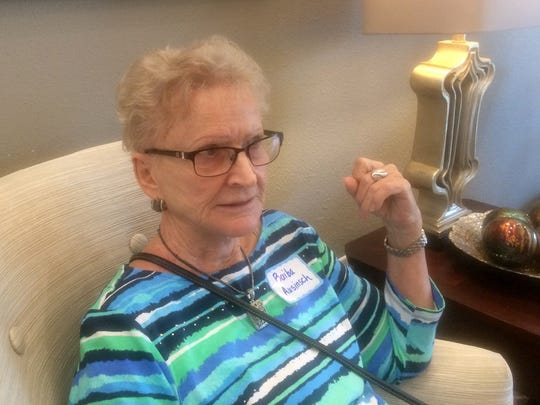 Baiba Ausinsch, 73, of Naples, takes a break during a tour of Inspired Living, a memory care community in Bonita Springs. Senior Housing Solutions in Naples arranged for 30 seniors to visit three communities on Wednesday, Feb. 8, 2017.