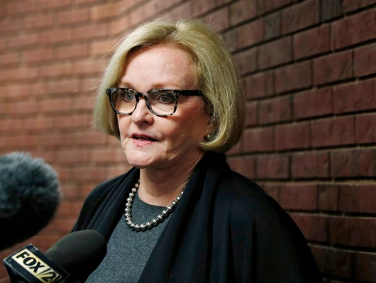 Sen. Claire McCaskill speaks to the media following