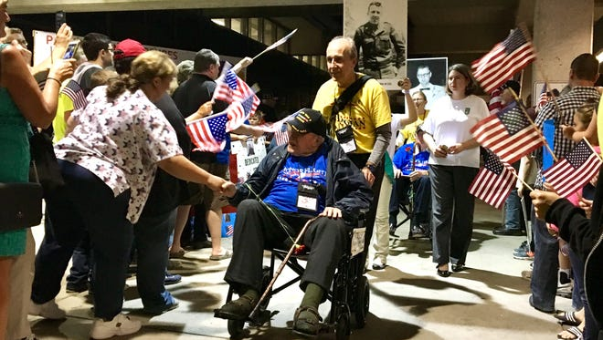 Veterans aboard Saturday's Honor Flight of Southern Indiana return from Washington D.C. to a Welcome Home Parade at Evansville Regional Airport.