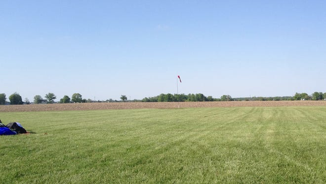 Skydiver Donald Wayne Hauck, 50, Greenfield, landed near Franklin Flying Field (shown here several hours after the May 18, 2014, incident) about 4 miles south of Franklin. He died at the scene.