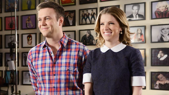 Tara Killam, left, and Anna Kendrick tape a promo for Kendrick's upcoming appearance on 'Saturday Night Live.'