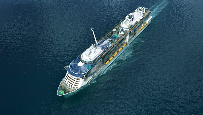 An artist's drawing of an aerial view of Royal Caribbean's next ship, Quantum of the Seas.