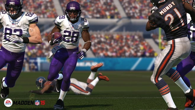 Minnesota Vikings running back Adrian Peterson appears in 'Madden NFL 15.'